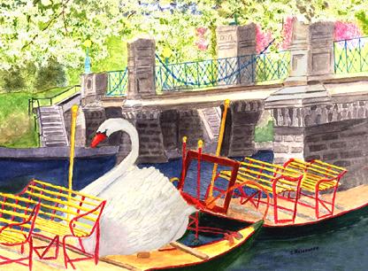 Swanboat at Bridge