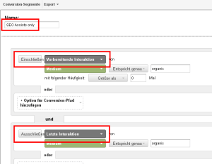 Screenshot Conversion-Segment SEO als Assistgeber