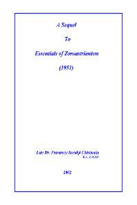A Sequel to Essentials of Zoroastrianism