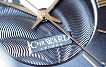 The logo on the dial of the Christopher Ward C9 Moonphase