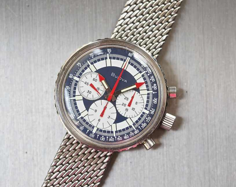 Note the massive winding crown on the Bulova Stars and Stripes