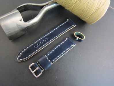 A tapered Arts & Crafts strap from Rover Haven in Navy Horween shell cordovan