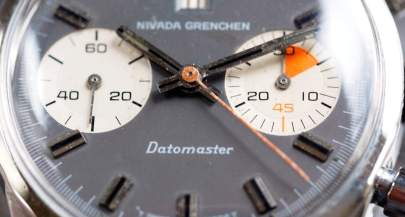 Nivada Grenchen Datomaster dial close up