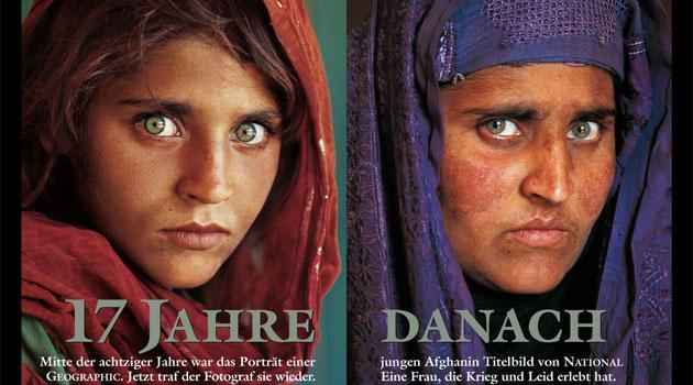 Sharbat Gula 1985 und 2002. Quelle: Nationalgeographic.com