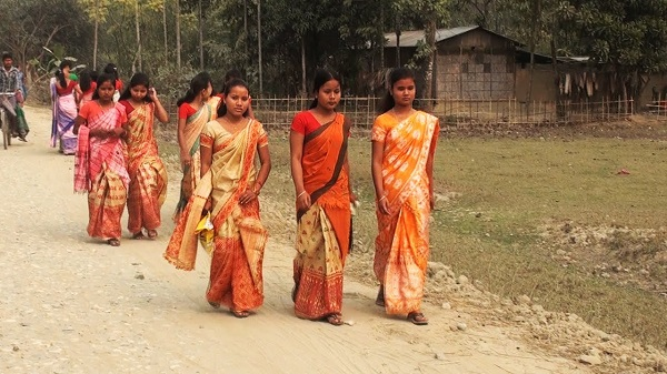young women near village