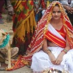 Young woman marries a dog