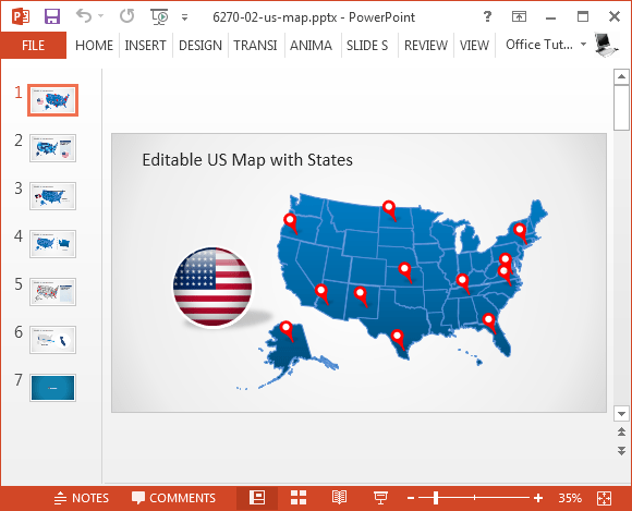 Map Of The Us For Powerpoint - Us map powerpoint template