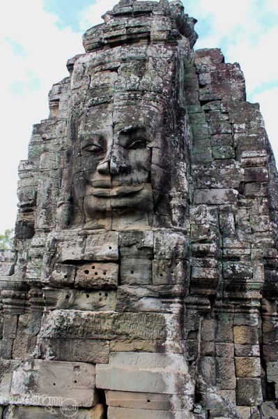 Bayon temple tower's stone faces