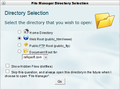 cpanel directory-popup