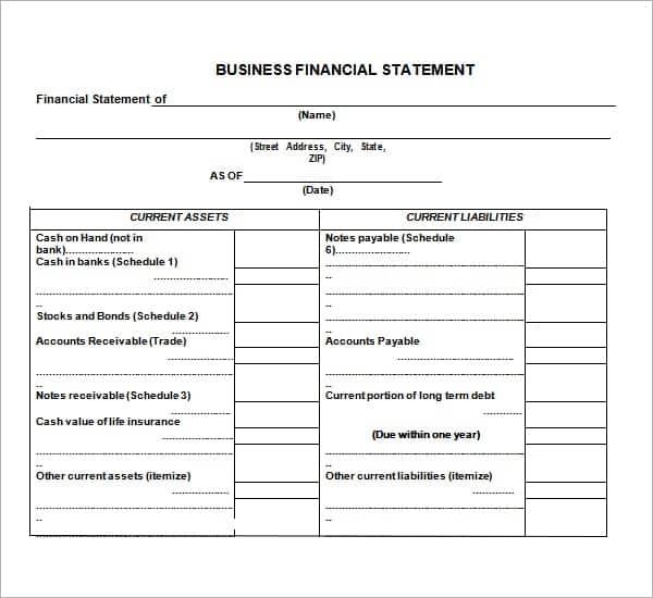 blank business financial statement form vatoz atozdevelopment co