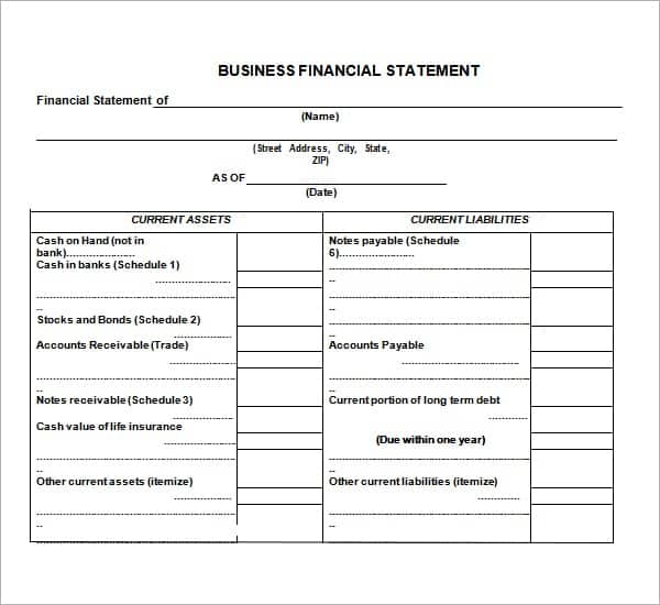Business Financial Statement Template Excel