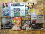 Glamour August magazine - The Wall Street Journal - US Weekly - Bed Bath & Beyond catalog - Allure July magazine - Outdoor Life August magazine - Wabash Valley Ag News letter - E-Series Wagon buying guide from Ford