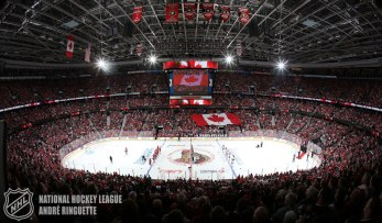 OTTAWA, ON - APRIL 19: A general view during the singing of the national anthems prior to a game between the Ottawa Senators and the Montreal Canadiens in Game Three of the Eastern Conference Quarterfinals during the 2015 NHL Stanley Cup Playoffs at Canadian Tire Centre on April 19, 2015 in Ottawa, Ontario, Canada. (Photo by Andre Ringuette/NHLI via Getty Images)