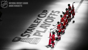 OTTAWA, ON - APRIL 19: The starting lineup of Clarke MacArthur #16, Marc Methot #3, Erik Karlsson #65, Kyle Turris #7 and Mark Stone #61 of the Ottawa Senators stands at the blue line during the singing of the national anthems prior to a game against the Montreal Canadiens in Game Three of the Eastern Conference Quarterfinals during the 2015 NHL Stanley Cup Playoffs at Canadian Tire Centre on April 19, 2015 in Ottawa, Ontario, Canada. (Photo by Andre Ringuette/NHLI via Getty Images)