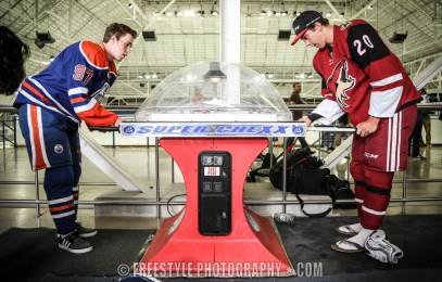 Connor McDavid with Dylan Strome Upper Deck Rookie Showcase 2015 Sept. 1, 2015 PHOTO: Andre Ringuette/Freestyle Photography