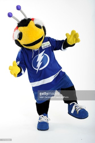 OTTAWA, ON - JANUARY 26: Thunderbug, mascot for the Tampa Bay Lightning, poses for portrait during 2012 NHL All-Star Weekend at Ottawa Convention Centre on January 26, 2012 in Ottawa, Canada. (Photo by Matt Zambonin/Freestyle Photo/Getty Images)