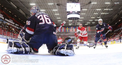 USA's Brandon Halverson #36 turns as Team Denmark scores a first period goal with Louis Belpedio #8 and Denmark's Alexander True #27 in front during preliminary round action at the 2016 IIHF World Junior Championship. (Photo by Matt Zambonin/HHOF-IIHF Images)