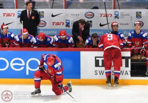 Russia's Alexander Dergachyov #25 takes a knee after losing to Team Finland in overtime during gold medal game action at the 2016 IIHF World Junior Championship. (Photo by Matt Zambonin/HHOF-IIHF Images)