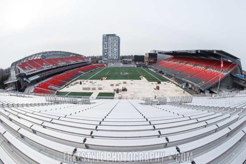 OTTAWA, ON - NOVEMBER 4: A general view of the stadium, during rink buildout ahead of the Scotiabank NHL100 Classic between the Montreal Canadiens and the Ottawa Senators on December 4, 2017 in Ottawa, Canada. (Photo by Andre Ringuette/NHLI via Getty Images)
