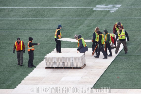 OTTAWA, ON - NOVEMBER 4: Workers take part in the rink buildout ahead of the Scotiabank NHL100 Classic between the Montreal Canadiens and the Ottawa Senators on December 4, 2017 in Ottawa, Canada. (Photo by Andre Ringuette/NHLI via Getty Images)
