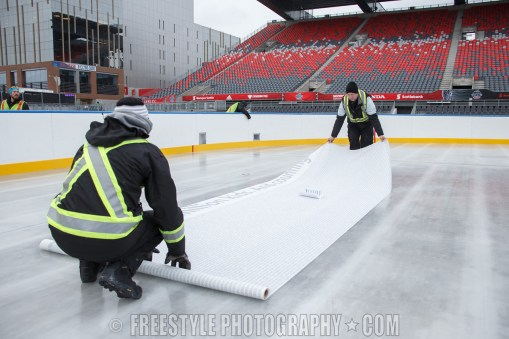 OTTAWA, ON - DECEMBER 9: The NHL has frozen the names of every Scotiabank sponsored minor hockey team over the past decade into the ice. This unique note commemorates Scotiabank's support of one million kids ahead of the Scotiabank NHL100 Classic between the Ottawa Senators and the Montreal Canadiens at Lansdowne Park on December 9, 2017 in Ottawa, Canada. (Photo by Andre Ringuette/NHLI via Getty Images)
