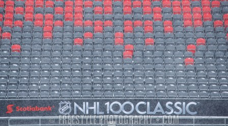 OTTAWA, ON - DECEMBER 12: A general view of signage around the stadium ahead of the Scotiabank NHL100 Classic between the Ottawa Senators and the Montreal Canadiens, at Lansdowne Park on December 12, 2017 in Ottawa, Canada. (Photo by Andre Ringuette/NHLI via Getty Images)