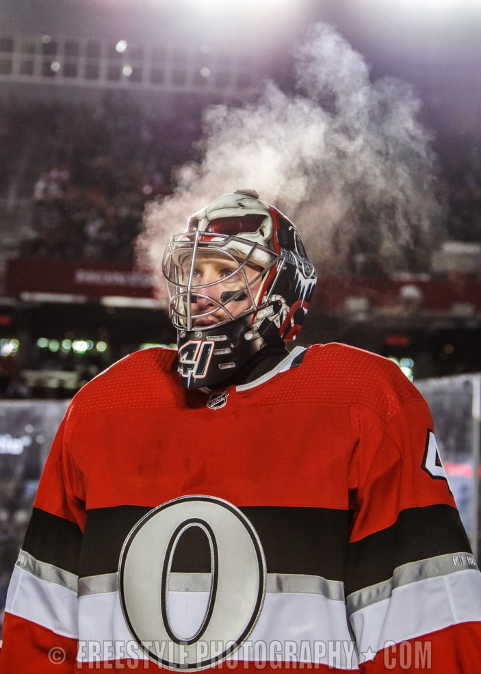 OTTAWA, ON - DECEMBER 16: Craig Anderson #41 of the Ottawa Senators looks on during a stoppage in play against the Montreal Canadiens during the second period of the 2017 Scotiabank NHL100 Classic at Lansdowne Park on December 16, 2017 in Ottawa, Canada. (Photo by Andre Ringuette/NHLI via Getty Images)