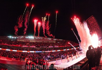 OTTAWA, ON - DECEMBER 16: A general view of the stadium with fireworks prior to the 2017 Scotiabank NHL100 Classic between the Ottawa Senators and the Montreal Canadiens at Lansdowne Park on December 16, 2017 in Ottawa, Canada. (Photo by Andre Ringuette/NHLI via Getty Images)