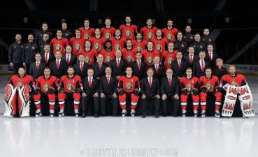 OTTAWA, ON - MARCH 15: (EDITORS NOTE: This image has been altered at the request of the Ottawa Senators.) Members of the Ottawa Senators pose for their official 2018-19 NHL team photo at Canadian Tire Centre on March 15, 2019 in Ottawa, Ontario, Canada. (Photo by Andre Ringuette/NHLI via Getty Images)