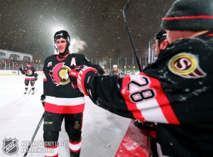 OTTAWA, ON - DECEMBER 15: Ottawa Senators alumni Wade Redden #6 high fives the bench during the 2017 Scotiabank NHL100 Classic Ottawa Senators Alumni Game on Parliament Hill on December 15, 2017 in Ottawa, Canada. (Photo Andre Ringuette/NHLI via Getty Images)