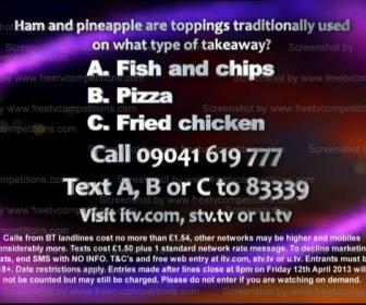 Saturday Night Takeaway competition question March 30th 2013 Ant and Dec