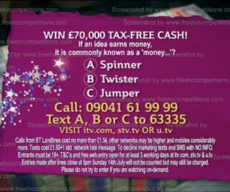 Win £70,000 in cash with free entry competition on ITV, STV and UTV