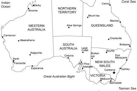 map of australia to print
