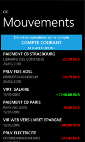 L'application bancaire CIC est disponible pour Windows Phone 7