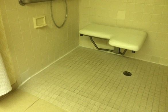 The wonderful ADA compliant roll-in shower in the hotel room we originally reserved.