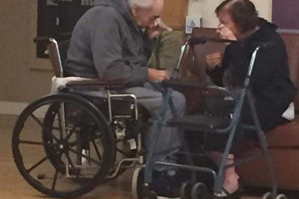 Forced to live in separate nursing homes, Wolfram and Anita Gottschalk say a tearful goodbye.