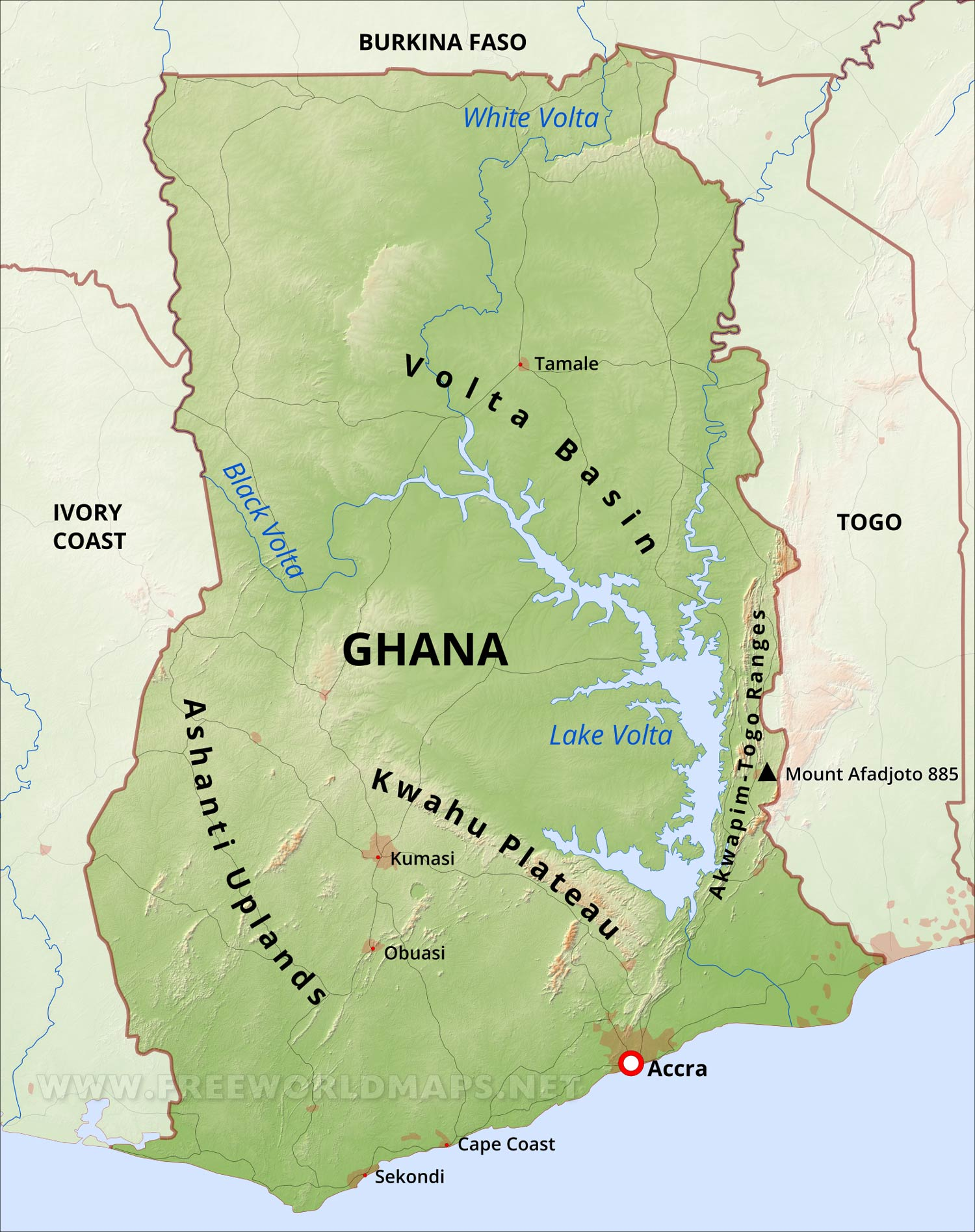 map showing ghana