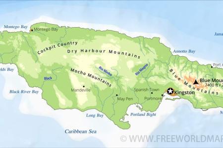 jamaica map physical