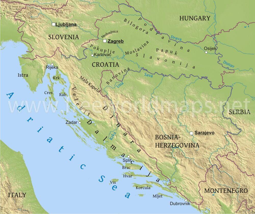 map showing croatia