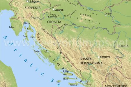 Map Showing Croatia - Croatia physical map