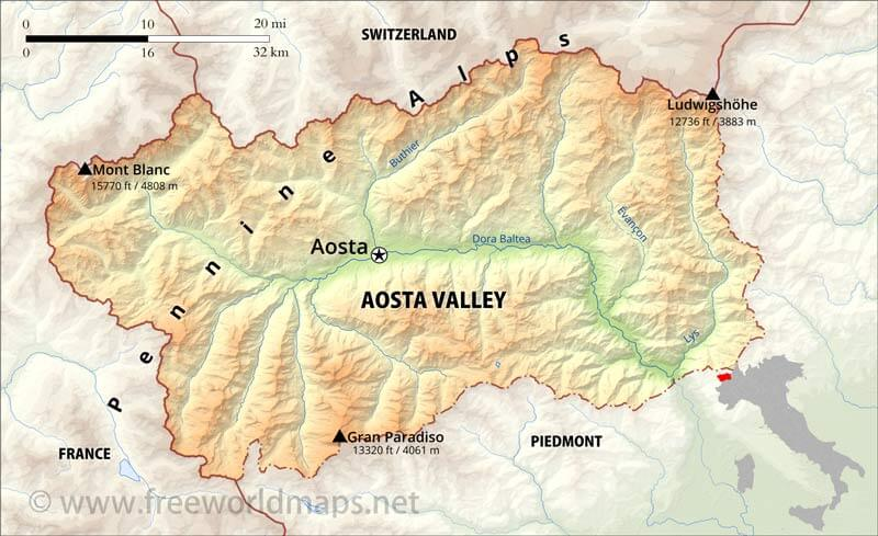 map aosta valley
