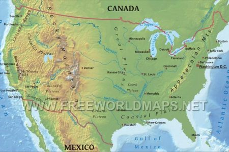 insotnami physical map of caa and usa