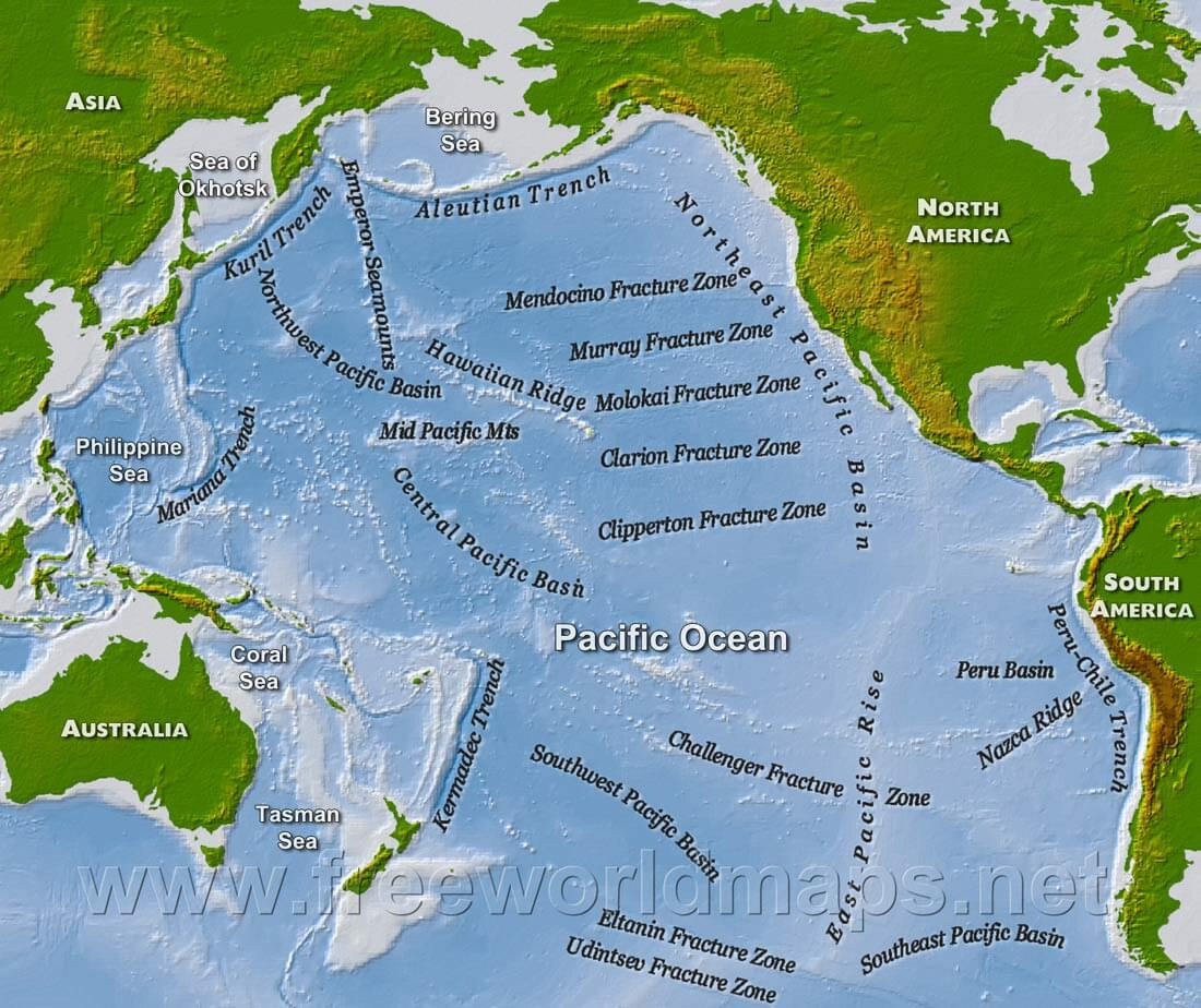 Geography and Map of the Pacific Ocean Pacific Ocean map