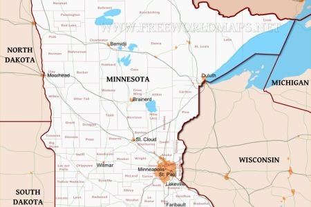 map of minnesota states and cities maps