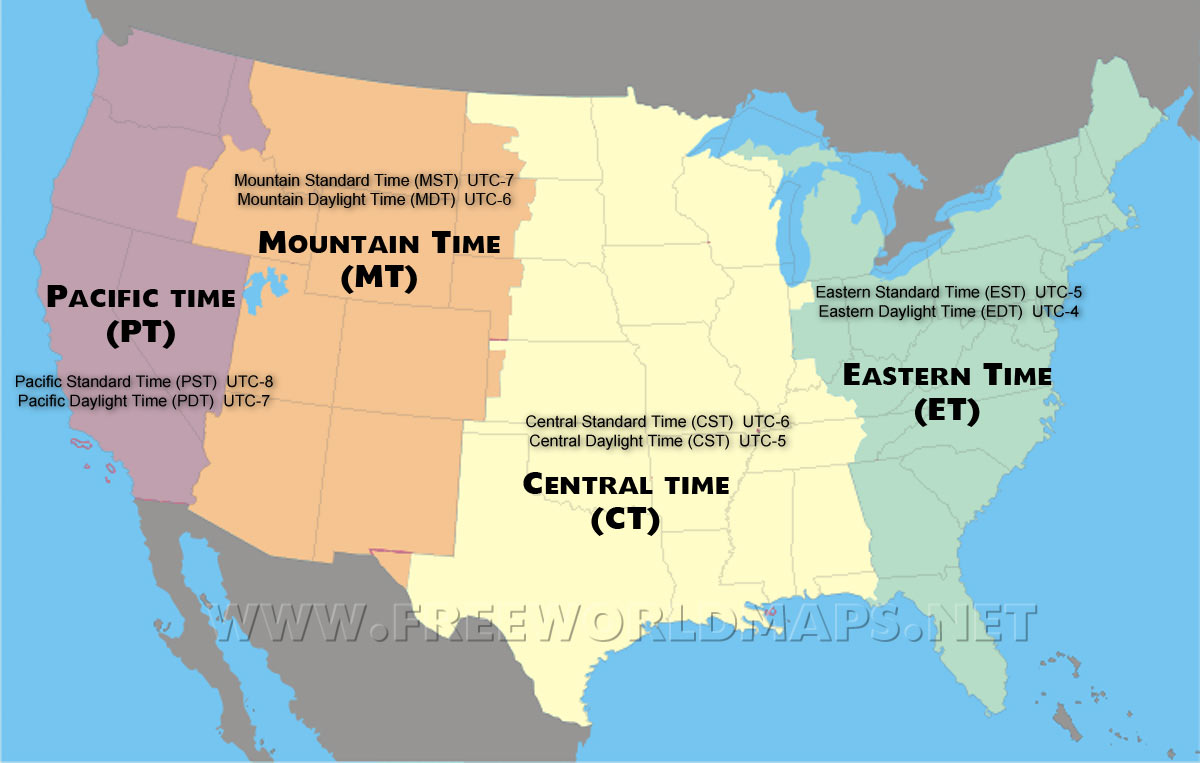 USA Area Code And Time Zone Wall Map Mapscom Time In The United - Map of the us zones
