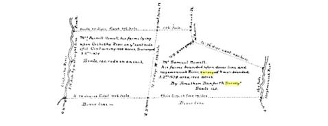 Survey of Samuel Nowell Farm by Jno. Danforth, 1679