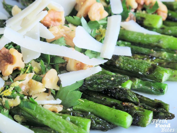 Lemon-Walnut Grilled Asparagus with Parmesan (Fast with Five Fridays)