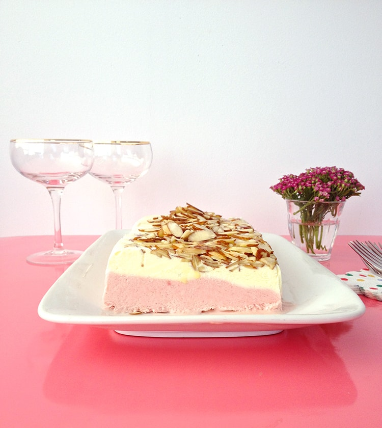 Strawberry Toasted Almond Semifreddo