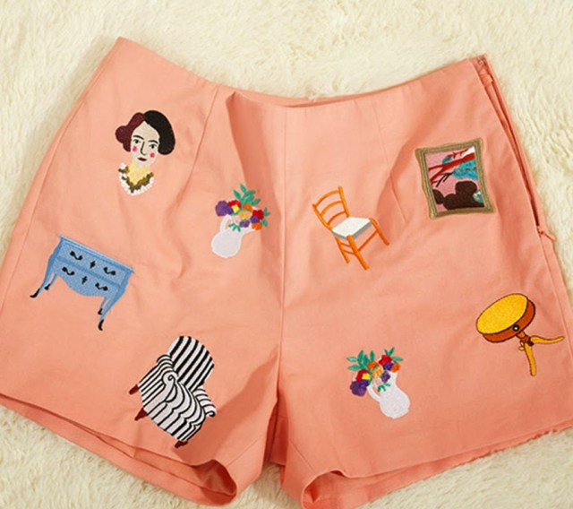 embroidered shorts with matisse motif