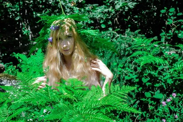 Pastel haired fairy with hat of ferns and wild flowers sitting amongst ferns